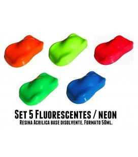 Kit 5 Pinturas Fluorescente Racing Colors (5ud x 50ml)