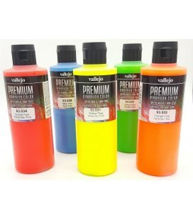Kit Pinturak Airbrush Fluoreszenteak Premium Vallejo (5tud x 200ml)