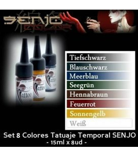 Kit de Tintes Tatuatge Temporal Senjo (8ud x 15ml)
