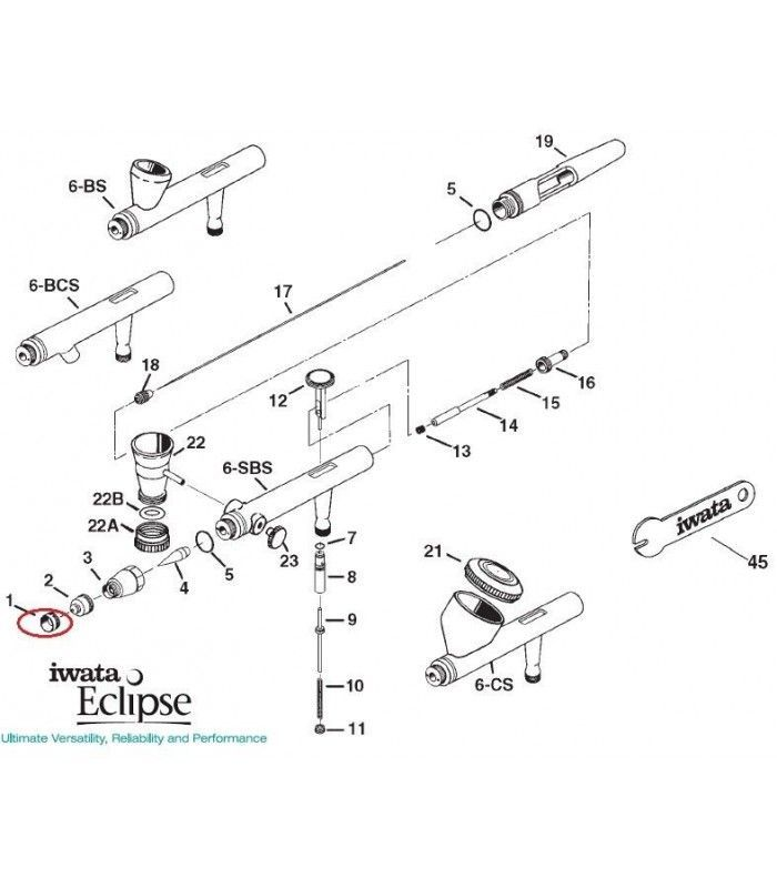 Spare parts ECLIPSE Airbrush Iwata