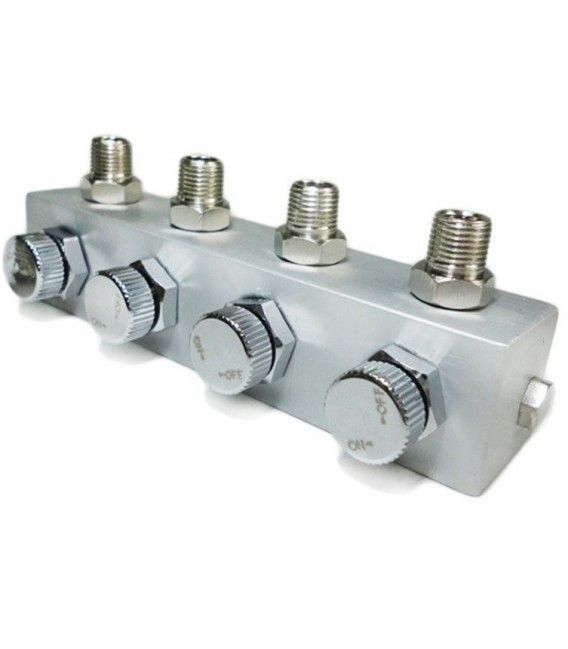 Connector de 4 Airbrushes amb Reg. Aire 1/8M.